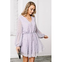 Lilac Grey Flutter Mini Dress