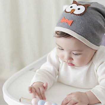 Spring Autumn 100% Cotton Soft Caps Winter Lovely Knitted Owl Newborn Baby Hat H
