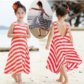 LMFUG3 Fashion Girls Chevron Dresses Bohemian Next Baby Girls Kids cotton beach Dress children clothing summer autumn new 2013 Brand