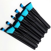 Style Master 10pcs Kabuki Makeup Brush Set Cosmetics Foundation Blending Blush Eyeliner Face Powder Brush for Face, Powder, Foundation, Primer, Concealer, Bronzer, and Cheek Blushes (Black Handle+ Blue Hair)