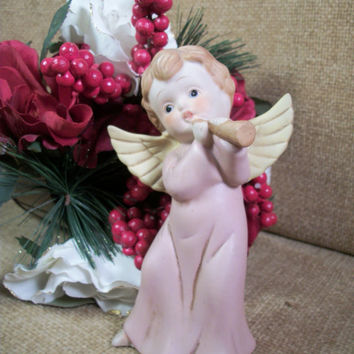 Angel Figurine Hand Painted Porcelain Bisque Pink and Gold Vintage Home Decor Collectible