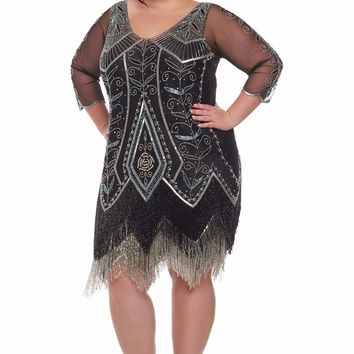 Scarlet Fringe Flapper Dress in Black & Silver