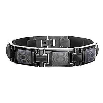 316L Black IP Stainless Steel with Forge Carbon Fiber Link Bracelet 8.75""