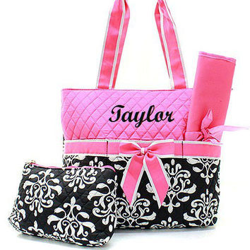 Black and Pink Bloom Diaper Bag  Monogrammed Diaper Bag  Diaper Bag for Girl