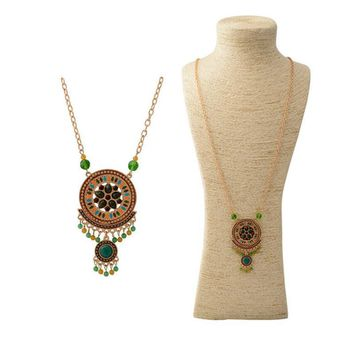 Ethnic bohemian jewelry gold color chain colorful resin beads pendants vintage long necklace