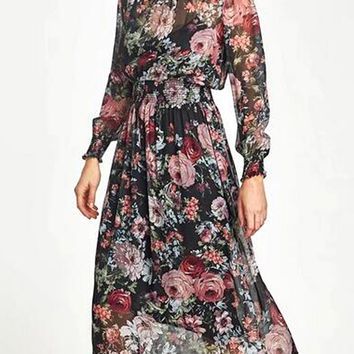 Polychrome Floral Print Long Sleeve Dress And Cami Lining