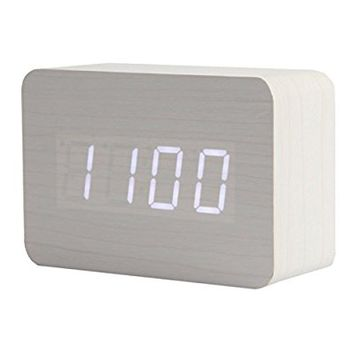KABB Light Brown Wood Grain LED Light Alarm Clock - Shows Time and Temperature - Good Sound Control - Latest Generation (USB/3xAAA) - Excellent Size - Made of Natural Material