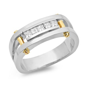 Mens Two Tone Princess Cut Diamond Ring