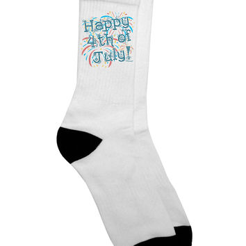 Happy 4th of July - Fireworks Design Adult Crew Socks