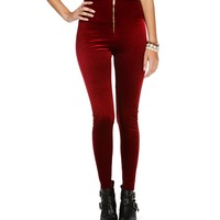 Sale- Burgundy Velvet Zipper Leggings