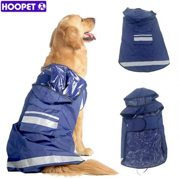 HOOPET Adjustable Dog Raincoat Pet Puppy Lightweight Rain Jacket Poncho with Strip Reflective and Pocket 3XL-7XL