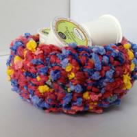 Raspberry Rainbow Crocheted Basket Bowl