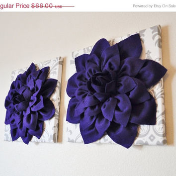 """MOTHERS DAY SALE Two Wall Flowers -Deep Purple Dahlia on White and Gray Damask 12 x12"""" Canvas Wall Art- Baby Nursery Wall Decor-"""