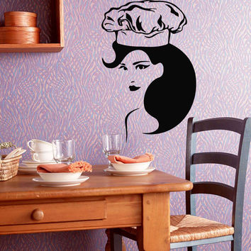 Wall Decals Vinyl Decal Sticker Art Mural Kitchen Decor Woman Chef Head Kj422