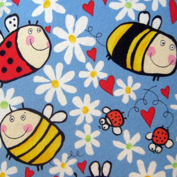 Spring a-buzz Cotton Fabric - 1/2 yard - Half - Alexander Henry 2004 - Blank Quilting - Sewing - Crafts - Yellow Blue Green Red Destash
