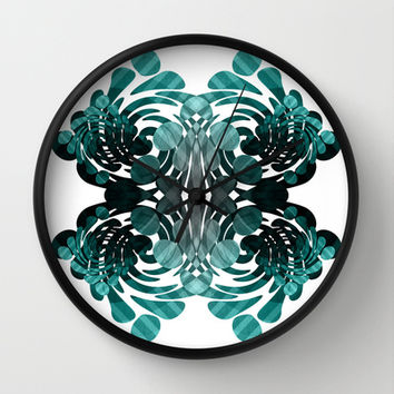 Abstract black and teal  Wall Clock by VanessaGF