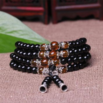 New Black Obsidian Tiger Eye Crystal 108 Prayer Beads Bracelet Necklace Tibet Buddhist Buddha Meditation Mala Lucky Jewelry Gift