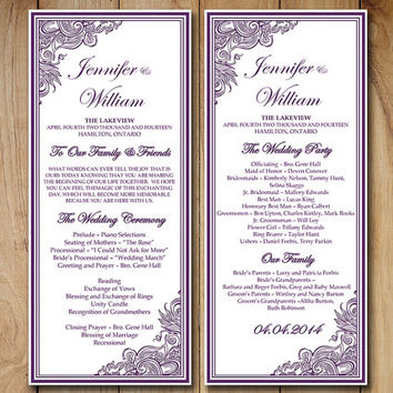 "Wedding Program Template Download Order of Service - ""Impressions"" Purple Ceremony Program Template - DIY Wedding Template"