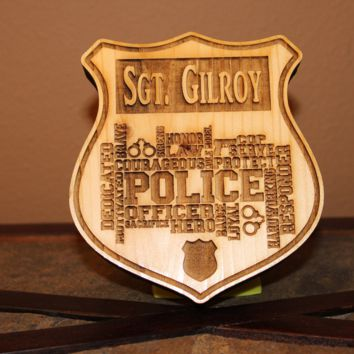 Personalized Police Hero Badge Wood Engraved Wall Plaque Art Sign