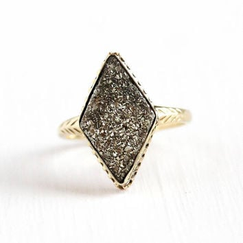 Antique Pyrite Ring - 10k Rosy Yellow Gold Victorian Crystal Cluster - Early 1900s Size 6 Fine Statement Marquise Fool's Gold Jewelry