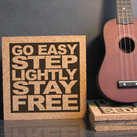 THE CLASH - Go Easy Step Lightly Stay Free - Cork Lyric Wall Art and Hot Pad Trivet - Cubicle Art Dorm Room Decor Back To School Gift Idea