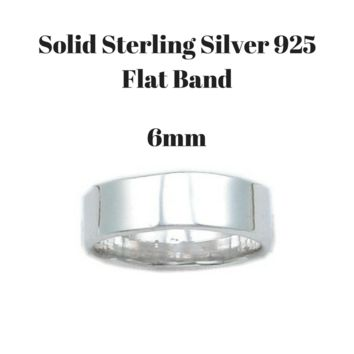 6mm Flat Round Wedding Ring Band In Sterling Silver 925