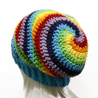 Slouchy Beanie Rainbow Beanie Spiral Swirl Crochet Hipster Hat Style Mens or Womens Dreads Tam Slouch Beanie Ready to Ship