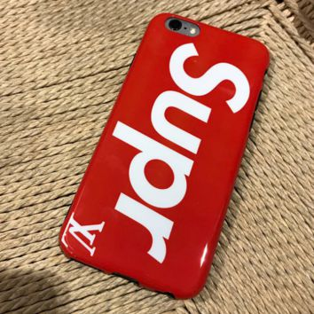 Trendy Red Supreme * LV Print Cover Case For Iphone 6 6s Plus/7 7Plus/8 8 Plus/ X