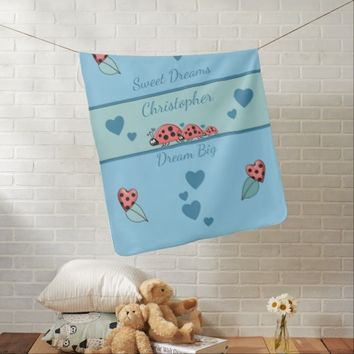 Personalized Blue Baby Blanket Ladybirds