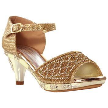 Girls Ankle Strap Dress Sandals Gold