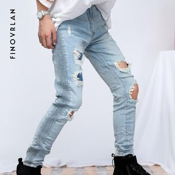 2018 kanye west Skinny Hole Jeans Men Streetwear Stretch Jeans hip hop Blue Skinny pleated Jeans Ripped Slim Fit trousers