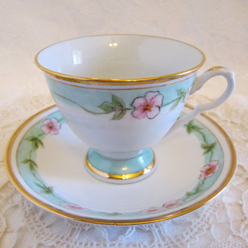 Vintage Chinese Pink Blossoms Gold Trim Footed Tea Cup and Saucer, Pink Floral Tea Cup Set