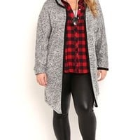 Plus Size Hoody Cardigan with Contrast Piping