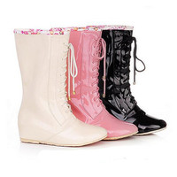 Girls women's rain boots Lace up wellies Ladies Boots Patent Leather size 5-11