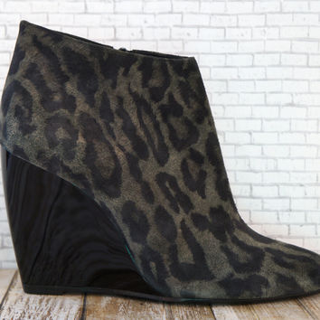 PIERRE HARDY Leopard Print Suede Ankle Boots, 39.5/8.5