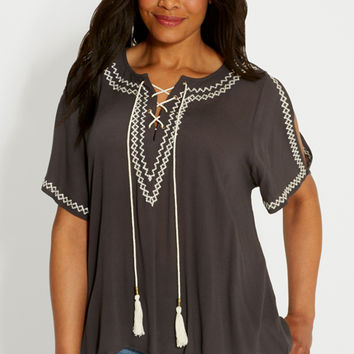 plus size peasant top with embroidery and cold shoulders | maurices