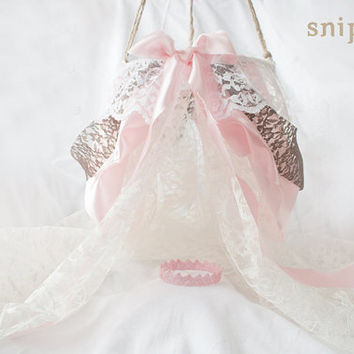 Lace Canopy with Matching Crown - newborn photography prop, newborn canopy, newborn crown, princess prop, princess canopy