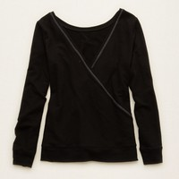 AERIE CROSS-BACK CREW SWEATER