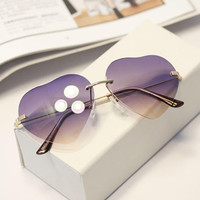 Heart Shaped Metal Frame Sunglasses