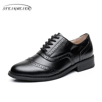 Women flats oxford shoes big size flat genuine leath vintage shoes round toe handmade black 2017 oxfords shoes for women