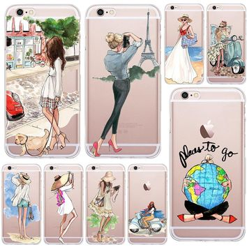 A Girl Summer Outing Travel Transparent Soft Silicone TPU Case Cover For Apple iPhone 5 5S SE 6 6S 8 Plus X 7 7Plus Phone Cases