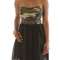 Strapless Camo Print Dress - Rainbow