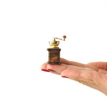 MINIATURE COFFEE GRINDER, Wood and Gold Colored Metal, Dolls House Figure, Little Trinkets, Shadow Box Figurine, Display Case