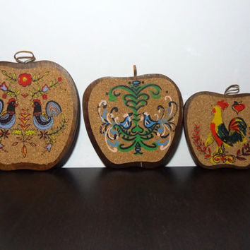 Vintage Set of 3 Wooden Apple Shaped Trivets with Cork Tops Painted with Pennsylvania Dutch/Danish Style Designs