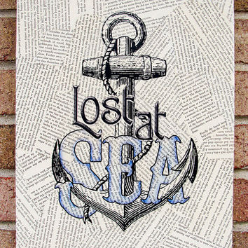 Canvas Wall Art Lost at Sea Vintage Book Pages Art by Stoic