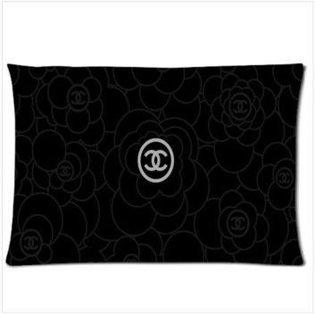 """Chanel Black Flower Zippered Pillow Case two side picture 18""""x 26"""""""