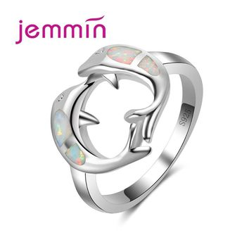Jemmin Cute Two Dolphins Face to Face Blue Fire Opal Jewelry Rings For Women Fashion Engagement Wedding Jewelry