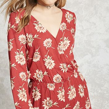 Sunflower Print Surplice Romper