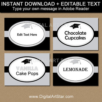 EDITABLE Graduation Buffet Labels, Buffet Cards, Food Labels, Table Tents - Printable High School Graduation Candy Buffet Label Template