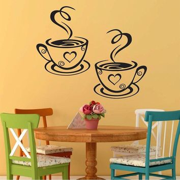 Fashion New Arrival  Kitchen Restaurant Beautiful Design Pub Decal Decoration Cafe Tea Wall Stickers Art  Coffee Cups Stickers